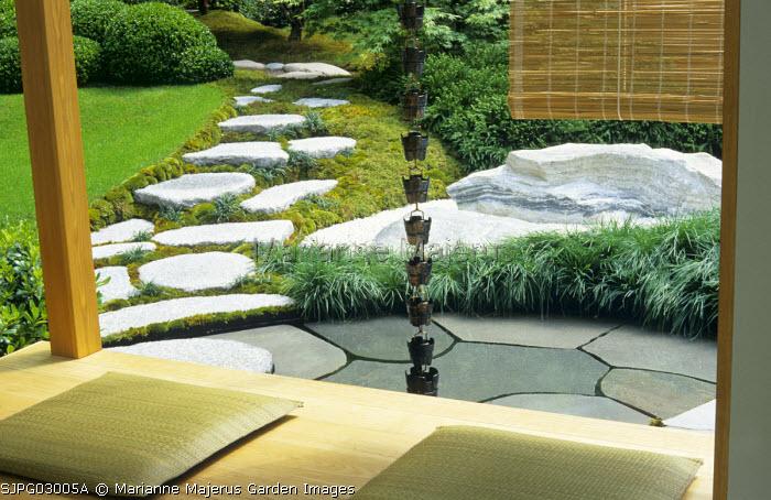 Interior of tea house, granite boulders