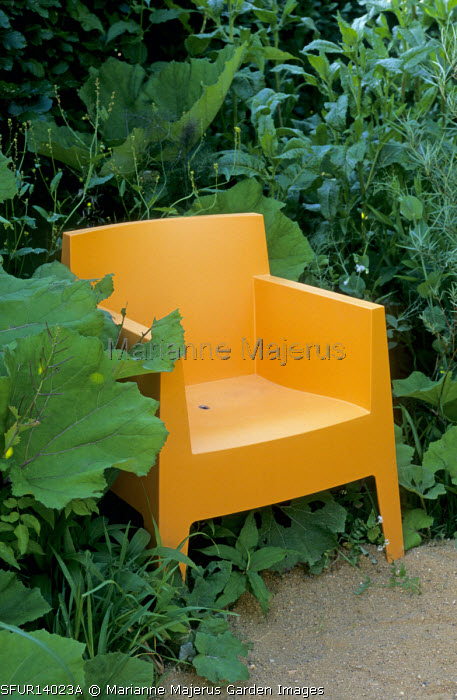 Orange plastic seat