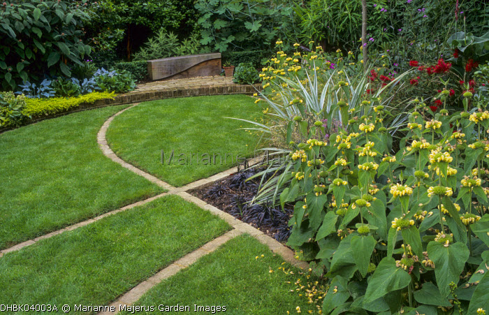 Lawn, brick edging, Phlomis russeliana