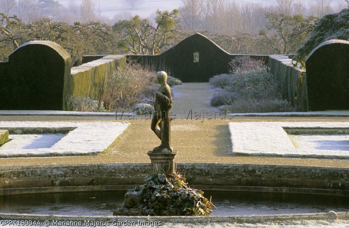 Italian garden, yew hedges