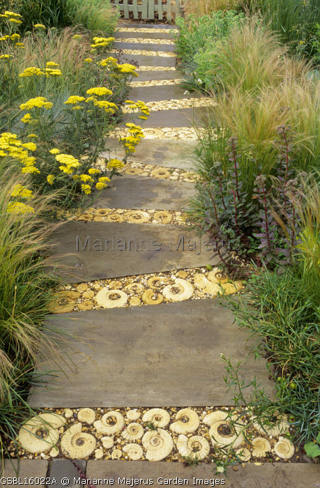 Paved stone path with bands of ammonites, border of grasses, achilleas, hylotelephium syn. sedum