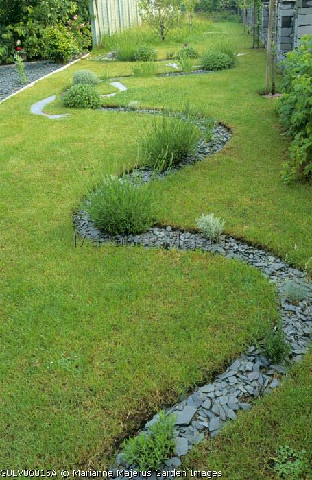 Winding rill path, lavender, rosemary, santolina
