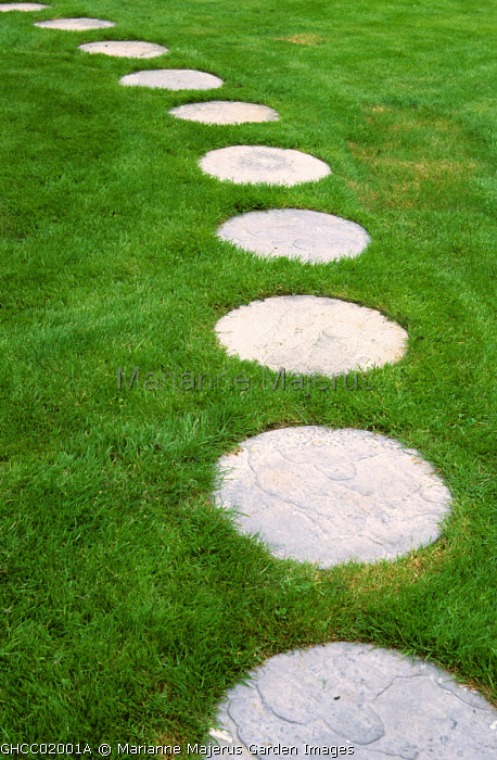 Circular concrete stepping stones in lawn