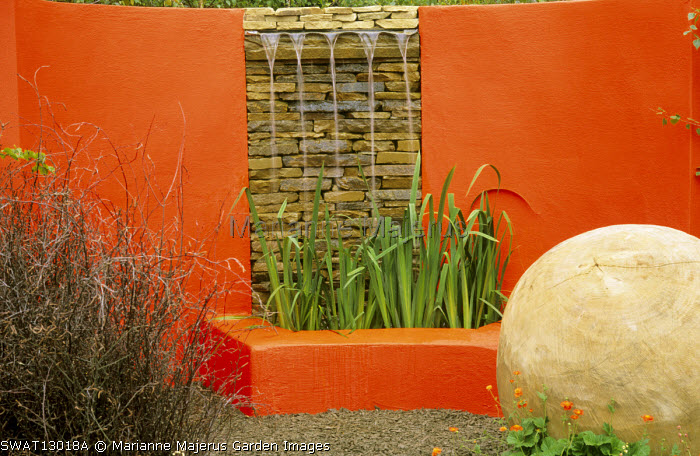 Dry-stone & rendered water feature