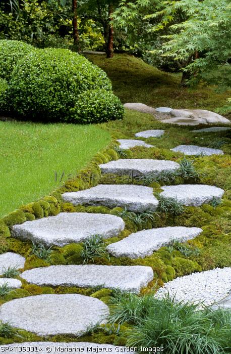 Japanese stepping stone path, Chinese silver grey granite, carpet moss