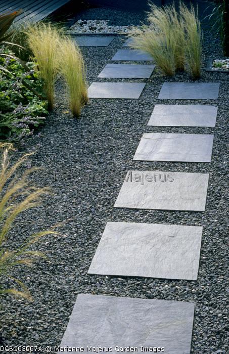 Diagonal stepping stone path, Stipa tenuissima