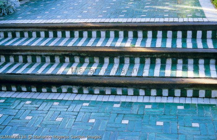 Steps paved with colourful ceramic tiles