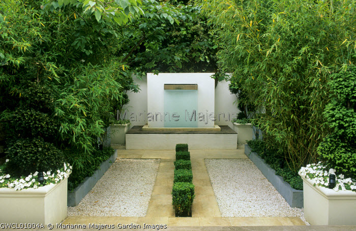 Town garden with paving, gravel, topiary, containers with spiral topiary, fountain, bamboos