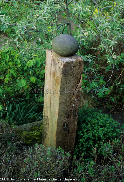 Stone and wood sculpture