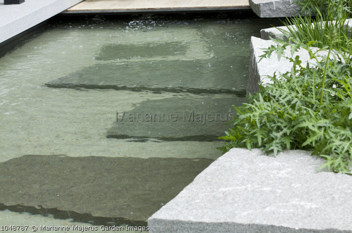 Rock garden pool, granite boulders