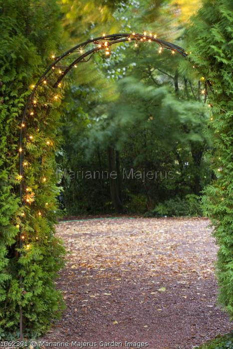 Fairy lights around arch