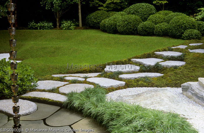 Stepping stone path, lawn, clipped box