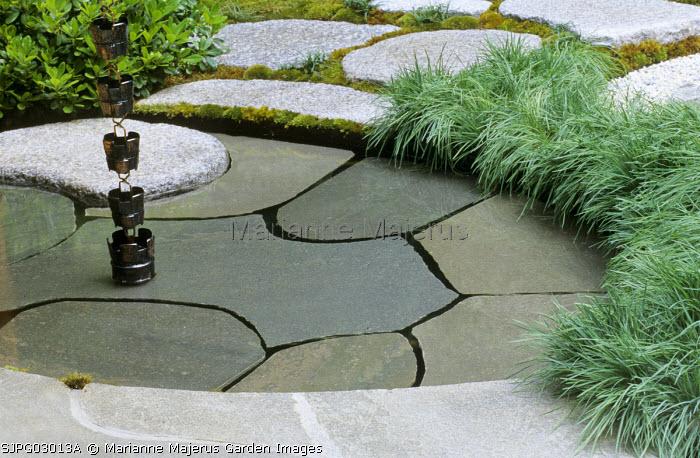 Pool, Porphyry plattens beneath water level, Acorus gramineus