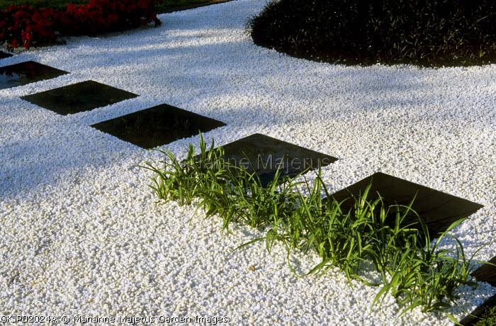 Japanese garden, white gravel with Ophiopogon planiscapus 'Nigrescens', black stepping stones