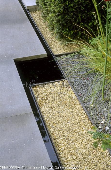 Geometric paving design, basalt paving, rill, gravel