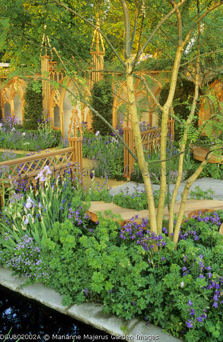 Purple border in courtyard garden with Gothic arbour and fence, irises, geraniums, aquilegias, borage