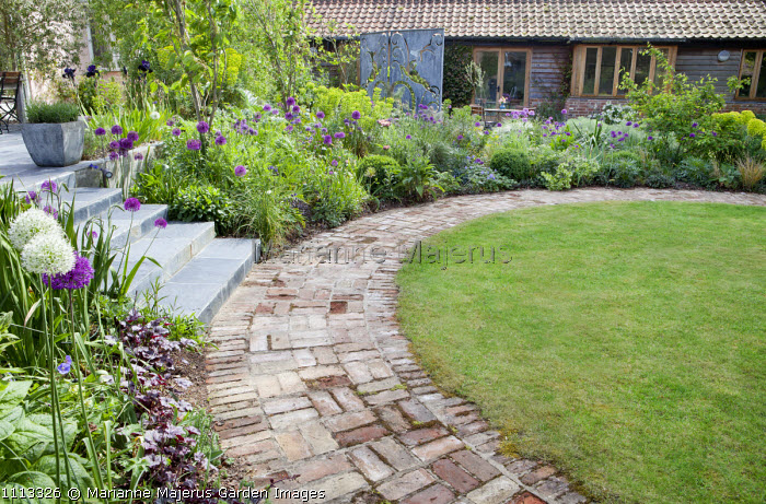 Reclaimed brick paving around lawn, Allium hollandicum 'Purple Sensation' in border by steps