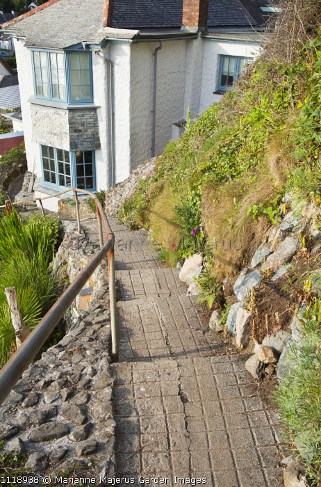 Path in sloping garden leading to house