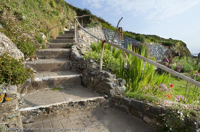 Stepped coastal footpath
