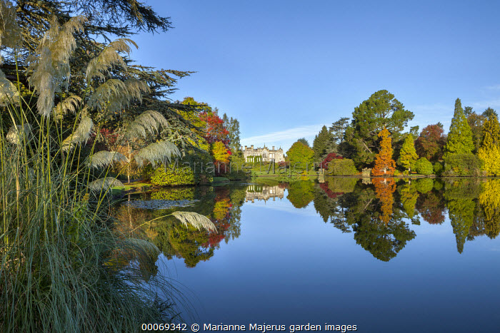 View across lake to Neo-Gothic mansion, reflection of autumn trees in lake, Cortaderia selloana, Taxodium distichum