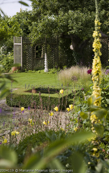 View to box-edged pool, verbascum and oenothera in foreground