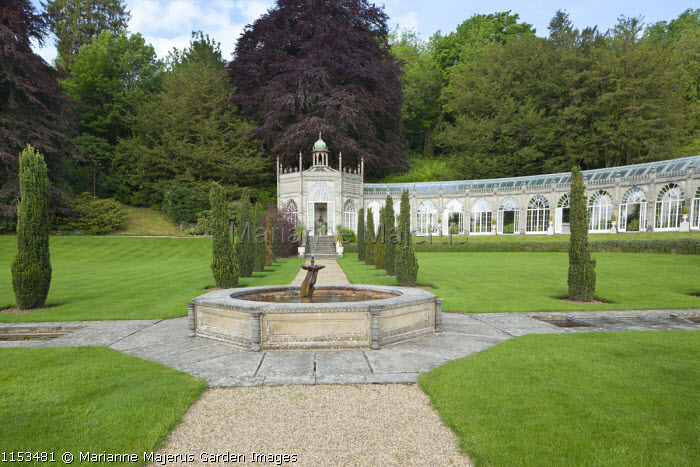 Orangery, formal raised octagonal pool and fountain