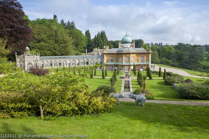 Sezincote House and Orangery, elephant statues, formal rill