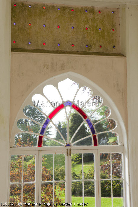 Stained glass in the Orangery window