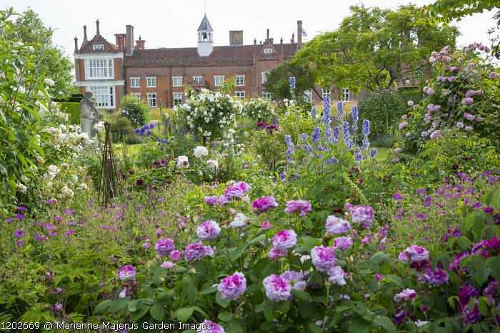 Rose garden including Rosa 'Président de Sèze', 'Marchesa Boccella' and 'Madame Plantier', geraniums, delphiniums, view to Helmingham Hall