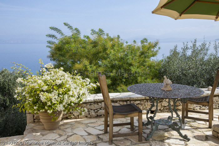 Table and chairs on mediterranean patio, bougainvillea in container, tamarix