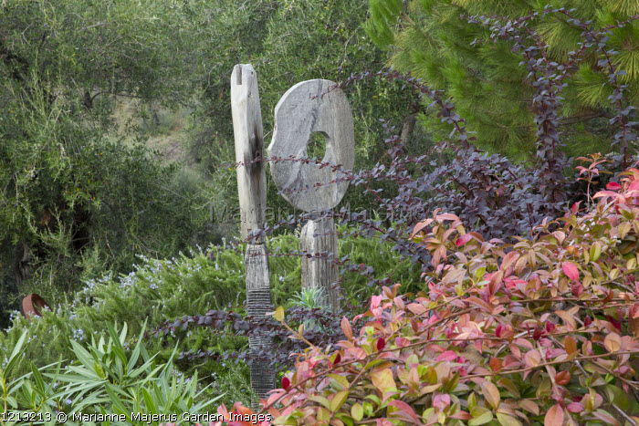 Oak sculpture 'Wherever you are is called Here' by Katherine Wise in border, Berberis thunbergii, Trachelospermum jasminoides