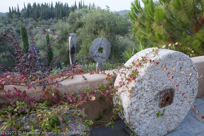 Old millstone on mediterranean terrace, wooden sculptures, Trachelospermum jasminoides, Pinus halepensis, Berberis thunbergii
