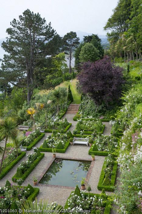 Formal terrace in sloping garden, rectangular pool, box-edged borders, bench, Juglans regia, Killiney Bay, Sugar Loaf Mountains