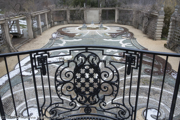 Ornate metal balustrade railing, overview of The Pebble Garden