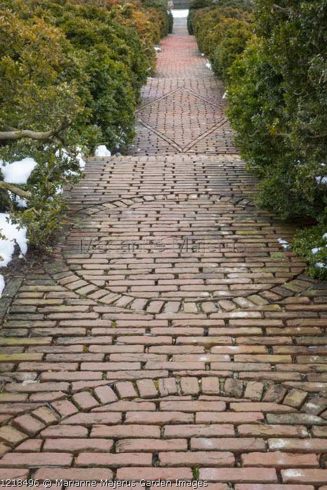 Circular patterns in brick paving