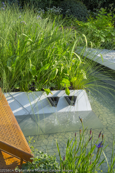 Contemporary pool, damp planting in raised beds, fountains