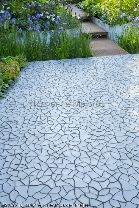 Cracked earth tile paving by KAZA Concrete designed by Edward Forster, Iris sibirica 'Perry's Blue'