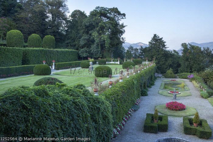 Formal gardens over two terraces
