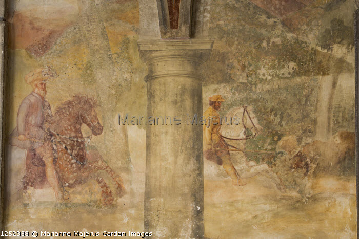 Wall painting frescoes by Giulio, Antonio and Vincenzo Campi of Cremona