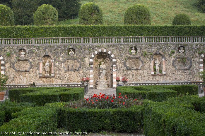 Clipped box parterre, tufa wall, stone statues in niches, dahlia