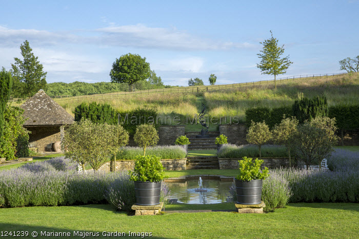 Formal pool and fountain in sunken garden, Lavandula angustifolia 'Princess Blue', standard Malus 'Evereste' trees, Viburnum tinus in large containers
