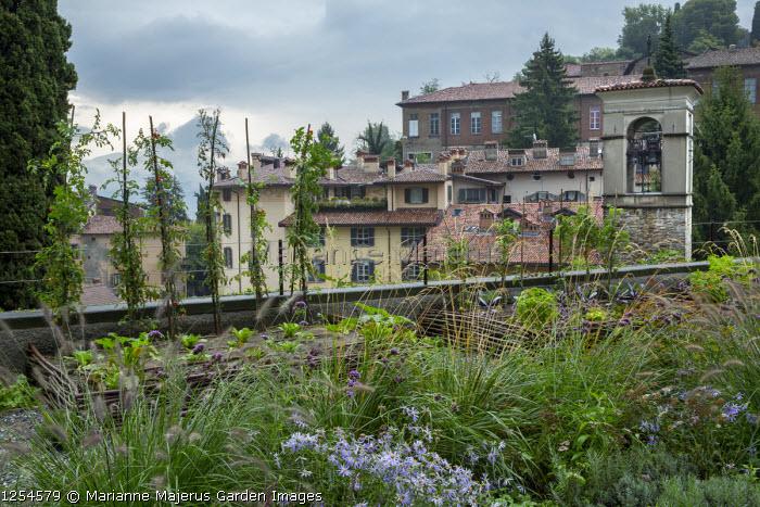 Mediterranean terrace, kitchen garden with willow-edged raised beds, cordon tomatoes
