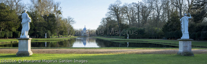 View across Long Water to Pavilion, classical statues on plinths