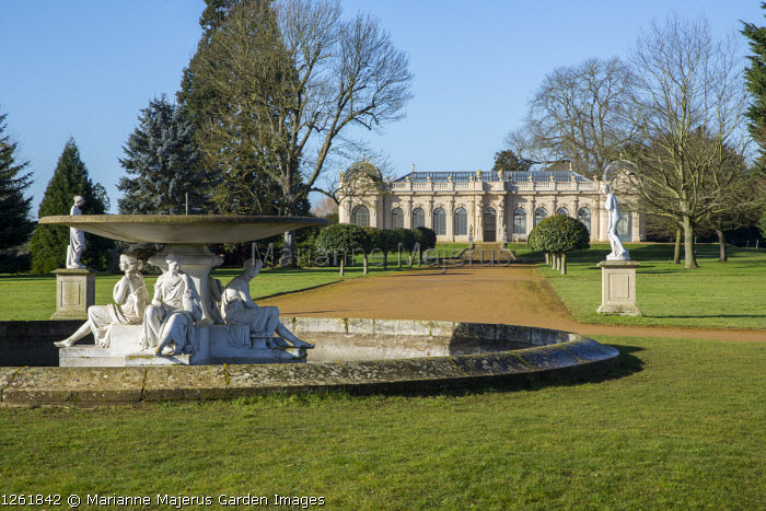 Classical fountain, wide path leading to Orangery