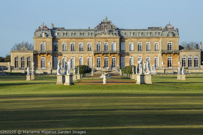 Classical statues and parterre by Wrest Park House