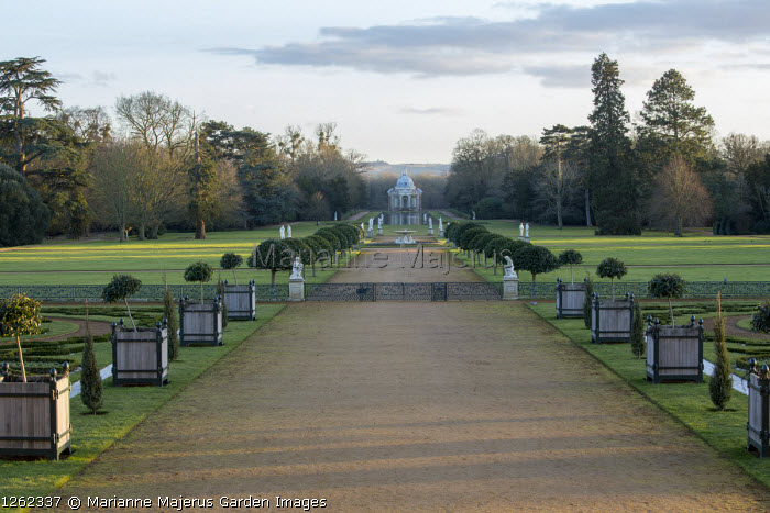 Wide path flanked by standard lollipop trained topiary, view to Pavilion