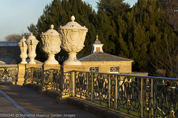 Classical urns in balcony terrace