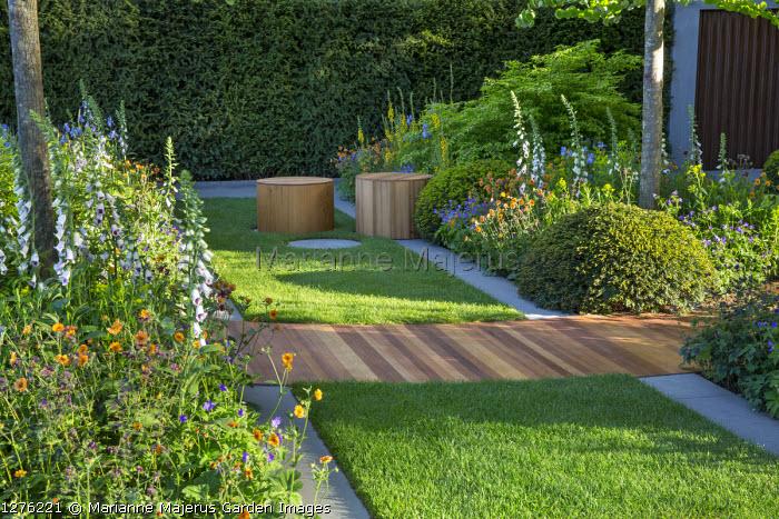 Digitalis purpurea 'Pam's Choice', Geum 'Totally Tangerine', Euonymus alatus 'Compactus', clipped Taxus baccata mound, cedar timber path across lawn, wooden stools