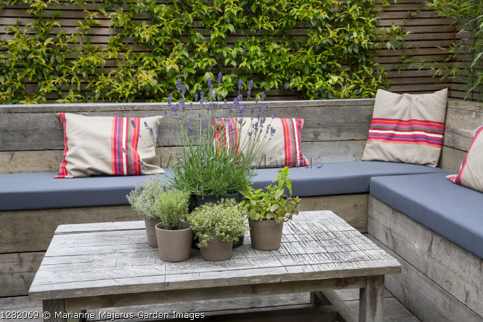 Built-in benches with cushions around reclaimed scaffolding boards table, herbs in pots