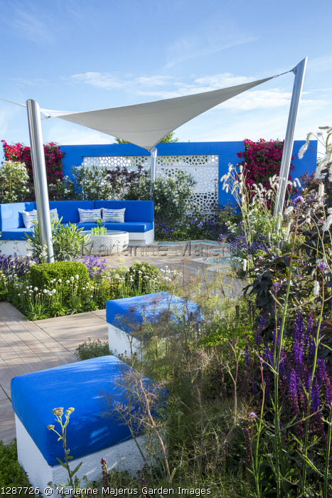 Sunsail over mediterranean-style garden, blue cushions on built-in bench and stools, decking, white aluminium panels set in blue painted wall with living green bougainvillea walls, Foeniculum vulgare 'Purpureum', Sanguisorba tenuifolia var. alba